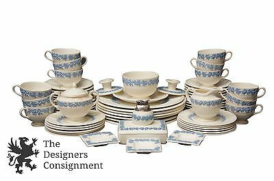 63 pc Wedgwood Embossed Queensware Edme China Dining Set Blue White Grape Vines
