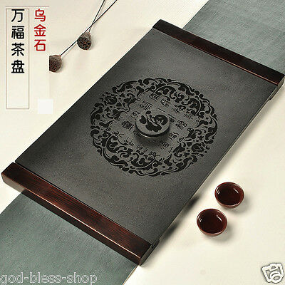 Chinese black stone tea tray blessing words tea boat with wooden edges tea table