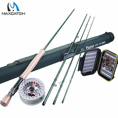 Maxcatch 7WT Fly Rod Combo 9FT Fly Fishing Rod, 7/8WT Fly Reel, Fly Line, Flies