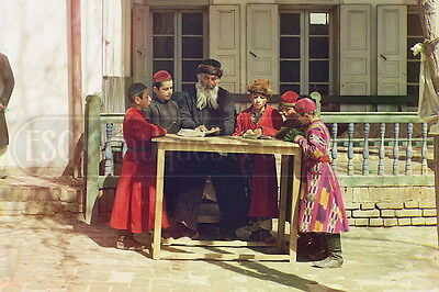Judaica Russia Group of Jewish children with a teacher Samarkand color photo 4x6