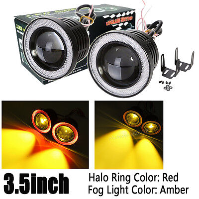 2pcs 3.5'' Yellow Projector LED Fog Light Headlight with Red Angel Eyes Halo 12V