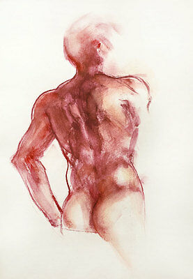 Magenta Man ~Original signed pastel & wash drawing of a male nude torso