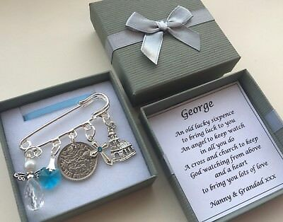 LUCKY SIXPENCE CHRISTENING, BAPTISM BOY Kilt Pin Charm PERSONALISED IN BOX