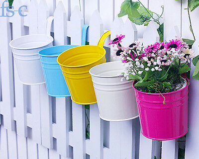 10pcs Detachable Iron Flower Pot Hanging Balcony Garden Plant Planter Decor