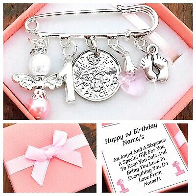Lucky Sixpence First 1St Birthday Gift Girl/Boy Personalised In Lovely Gift Box