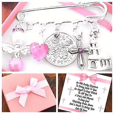 LUCKY SIXPENCE CHRISTENING GIFT, BAPTISM GIRL/BOY Pin Charm PERSONALISED IN BOX