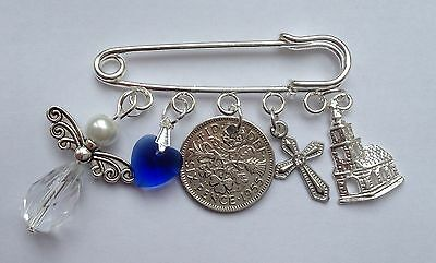 LUCKY SIXPENCE CHRISTENING, BAPTISM BOY/GIRL Kilt Pin Charm In A Lovely Gift Bag