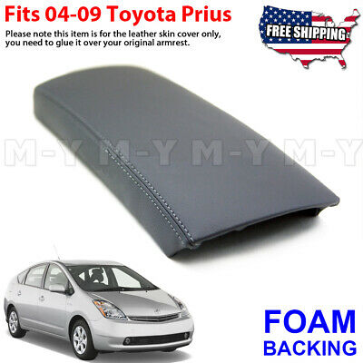 Fits 2004-2009 Toyota Prius Leather Center Console Lid Armrest Cover Gray