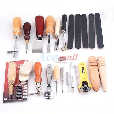 19pcs Leather Craft DIY Hand Tool Punch Edger Trench Device Belt Puncher Set
