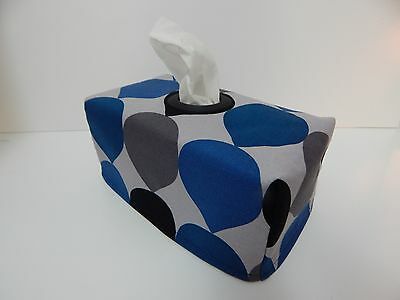 Blue Grey Black Teardrop Tissue Box Cover With Circle Opening - Great Gift!