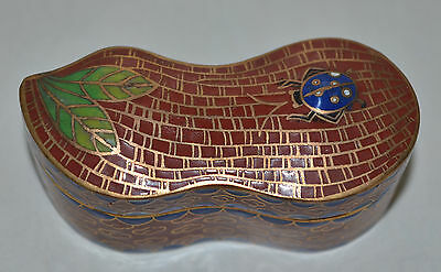 Unusual Shape Vintage Chinese Cloisonne Box Blue Beetle And Leaf Design