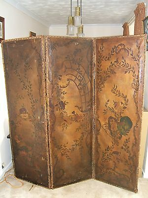 Fine Victorian Three-Panel Leather Screen Room Divider Hand-Painted Rural Scene.