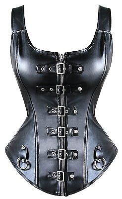 New Sexy Punk Buckled Detail Straps Full Zipper Black Leather Corset