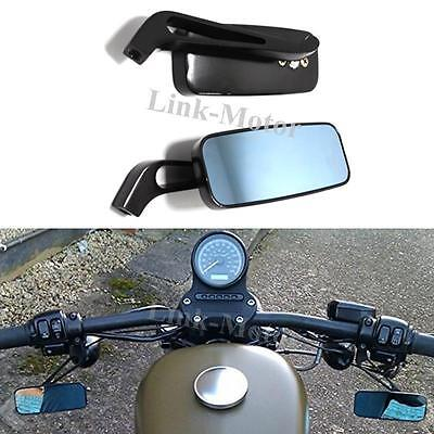 Black Rectangle Motorcycle Rear View Wing Mirrors Universal 8Mm 10Mm Motorbike