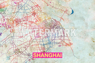 Map Of Shanghai, China - Art Print Graphic Poster Old Street Photo
