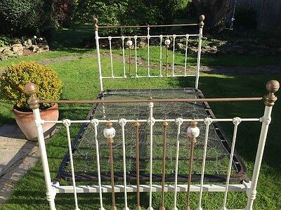 Antique Double Brass And Wrought Iron Bed Frame