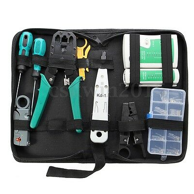 11x Network Combination PC Cable Wire Tester Crimping Cutter Punch Tools Kit Set