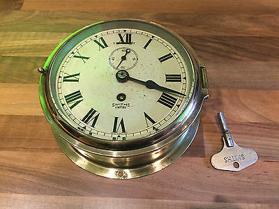 Vintage Brass Smiths Empire Ships Clock Maritime Marine Nautical Boat
