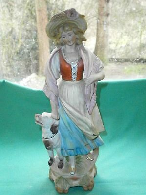 antique figurine of a girl with dog/Wallendorfer/Kaempfe & Heubach/ bisque