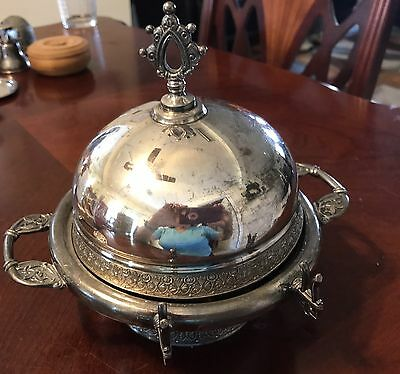 Antique Pairpoint Quadruple Plate Domed Cover, Silver Butter Dish.