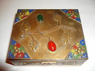 Old Chinese Brass Box Red&Green Glass, Enamel Champleve, Cloisonne