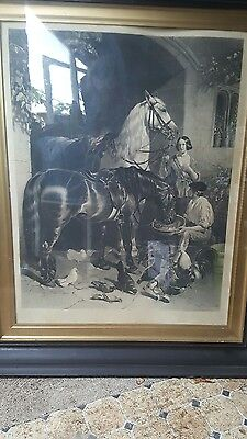 large engraving 1848 JF Herring framed
