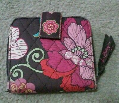 Vera Bradley RETIRED MOD FLORAL PINK Mini ZIP Compact WALLET Fits on the go bag
