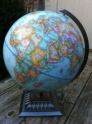 "12"" Diameter Replogle World Classic Series Globe Pewter Color Metal Base MS"