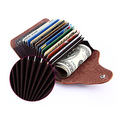 Multi-function Faux Leather ID Credit Card Holder Clutch Purse Wallet Money Clip