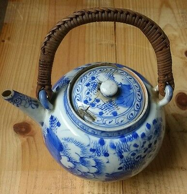 Antique Chinese blue and white teapot bamboo handle 19th century?