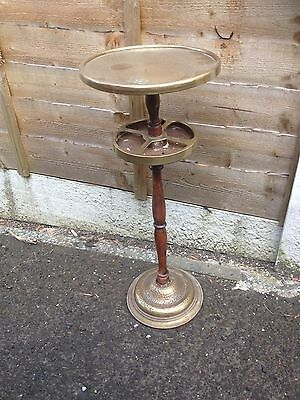 Vintage Brass & Mahogany Plant Stand / Table