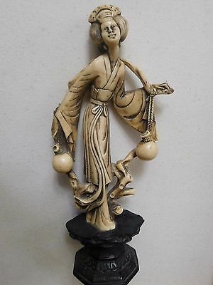Vintage Chinese Raising Ivory Color Statue Signed