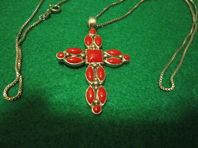Southwestern Native American Sterling Silver Coral  Cross Necklace   10gr