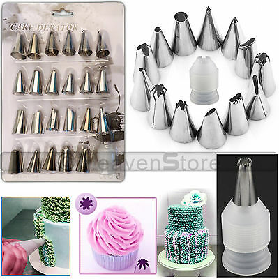 24pcs Pastry Cake Decorating Nozzles Tips Set Kit for Icing Piping Sugarcraf Pen