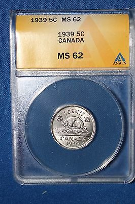 1939 Canada 5 Cent Piece ~ Ms 62 Stunner