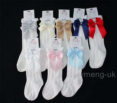 Gorgeous Baby Girl's Spanish Knee High Socks with Side Bow/Infant/ONE SUPPLIED