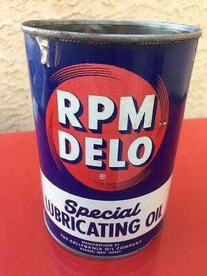 Vintage RPM Delo Lubricating Motor Oil Metal Tin Can Quart