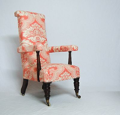 William Iv Mahogany & Upholstered Armchair With Copes Patent Castors