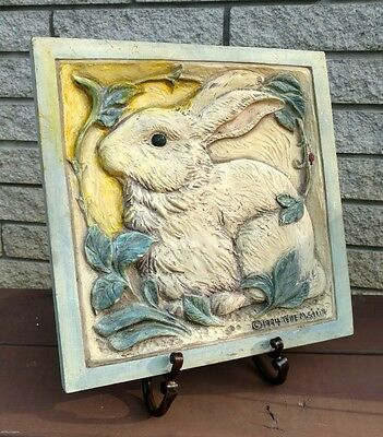 1994 Telle M Stein Bunny Wall Plaque Square Rabbit LadyBug 90s The Stone Bunny
