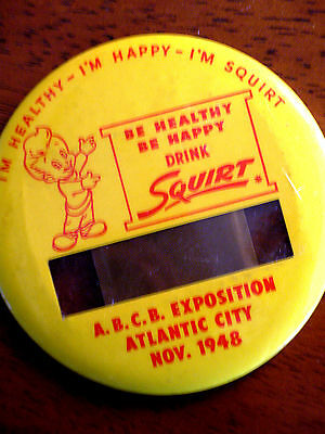 """**1948  """"squirt"""" 3 1/2 Inch Metal Name Tag From Atlantic City Beverage Expo"""