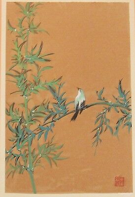 Vintage Japanese painting bird sitting on bamboo branch signed/seal stamp