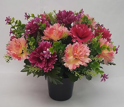 Artificial Flowers All Round Grave Memorial Arrangement Wine Pink Cerise