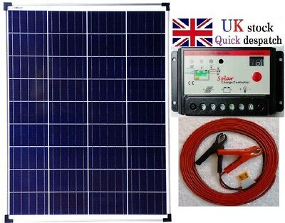100w 12v Solar Panel + 10A Charger Controller +6m cable fuse battery clip kit UK