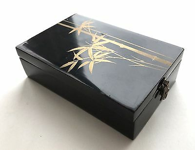 ANTIQUE Vintage Japanese BLACK LACQUER & GOLD Lidded Box with Bamboo Design