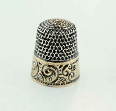 Antique Thomas F. Brogan Co NY Sterling Silver & Gold Thimble Ornate Scroll Sz 8