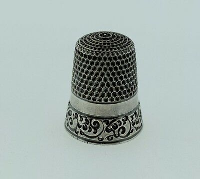 Antique Simons Brothers Sterling Silver Thimble Ornate Scroll Size 9