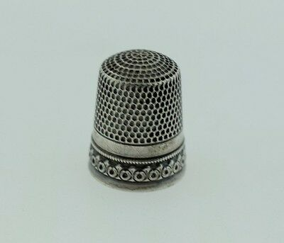 Antique Simons Brothers Sterling Silver Thimble Floral Roses Size 8