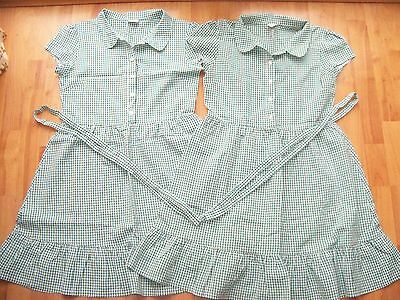 Two Next School Dresses - Aged 13 - Gingham Green/White - Wonderful Condition