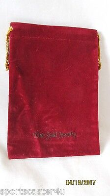 NEW! 50 LOT Velveteen Drawstring Jewelry Pouches Gift Bags Burgandy/Gold