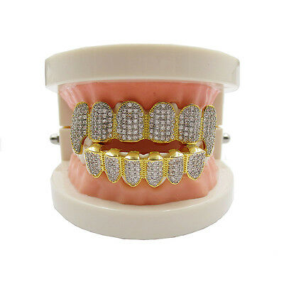 Custom Iced Out Gold Plated Diamond Grillz Top Bottom Teeth Decoration